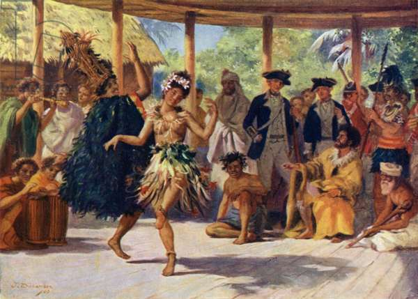 Dancing at Otaheite before Captain Cook (colour litho)