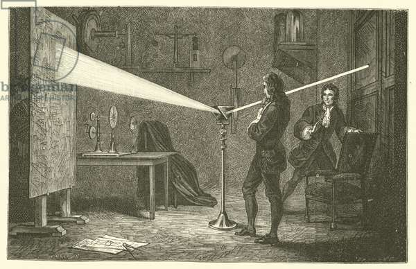 Isaac Newton breaks down light (engraving)