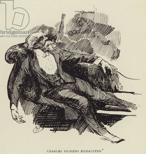 Charles Dickens exhausted (litho)