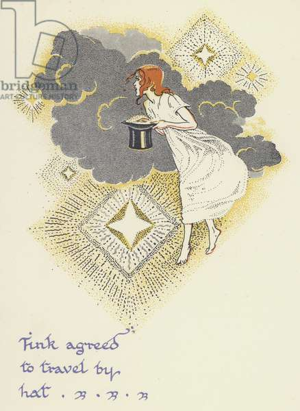 Peter Pan and Wendy: Tink agreed to travel by hat (colour litho)