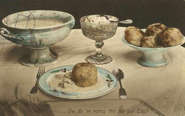 Food on a table (colour photo)