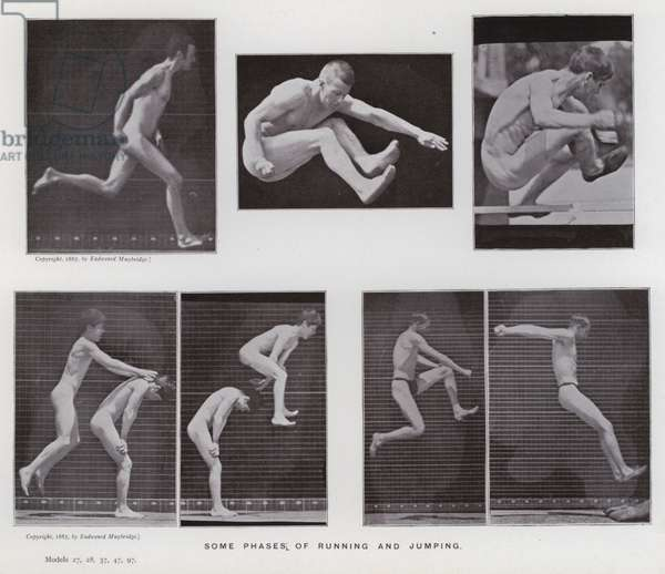 The Human Figure in Motion: Some phases of running and jumping (b/w photo)