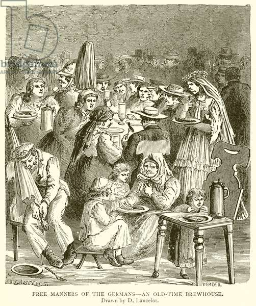 Free Manners of the Germans--An Old-Time Brewhouse (engraving)