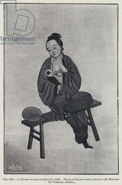 A Chinese woman suckles her child (litho)