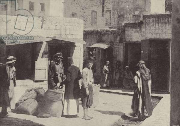 Wheat Market, Nazareth, where Christ grew up (b/w photo)
