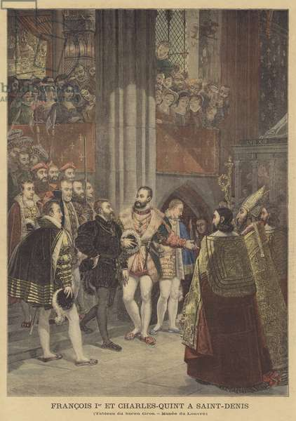 Francis I and Charles V at Saint-Denis (colour litho)