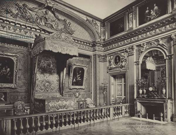 Versailles: Chambre De Louis XIV; Louis XIV's Bed-Room (b/w photo)