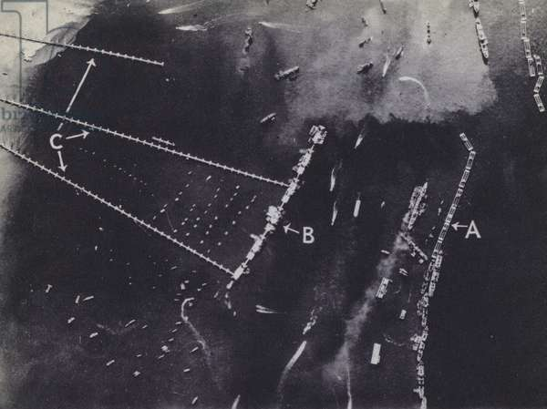 The Mulberry Harbours used to resupply Allied forces in Normandy after the D-Day landings, World War 2, 1944 (b/w photo)