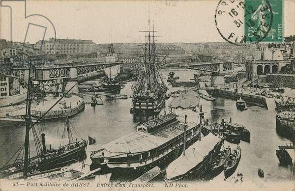 Military port at Brest, France. Postcard sent in 1913.