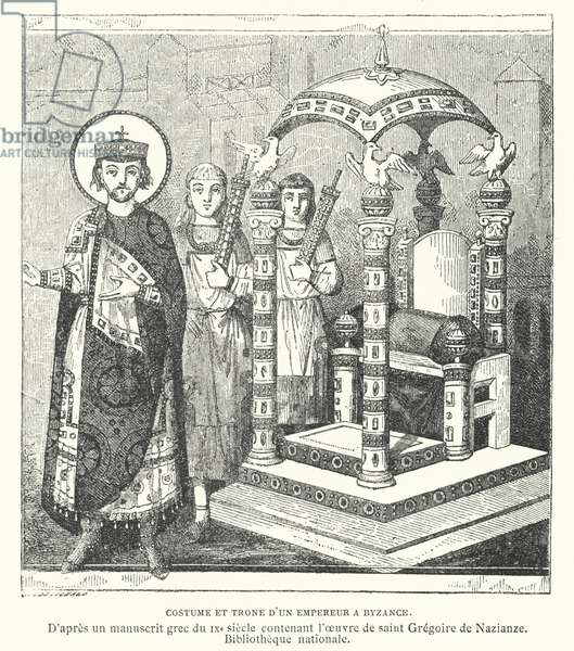 Costume and throne of a Byzantine emperor, 9th Century (engraving)