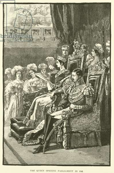 The Queen Opening Parliament in 1846 (engraving)