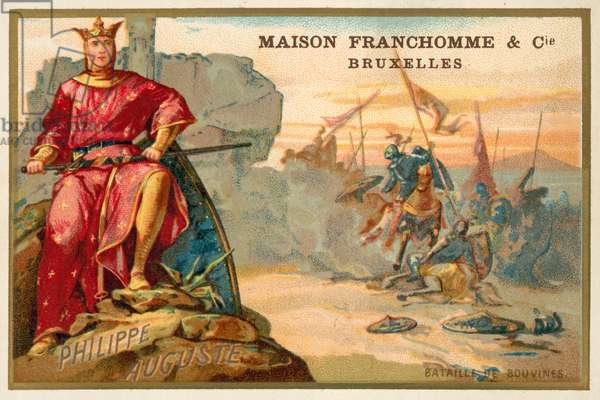 Philip Augustus, King of France, and the Battle of Bouvines, 1214 (chromolitho)