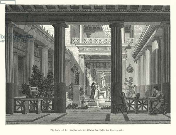 Open court of an Ancient Greek house, with a statue of the goddess Hestia in the background (engraving)
