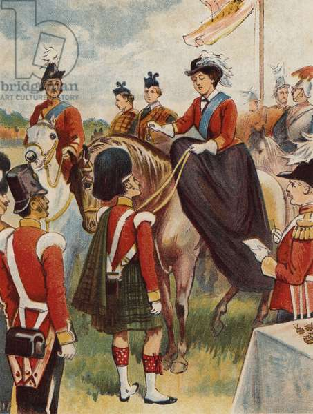 The Queen distributing the Victoria Cross (colour litho)