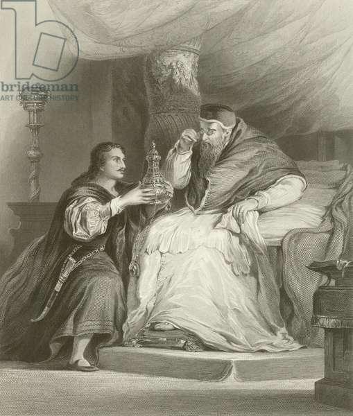 Benvenuto Cellini and the Pope (engraving)