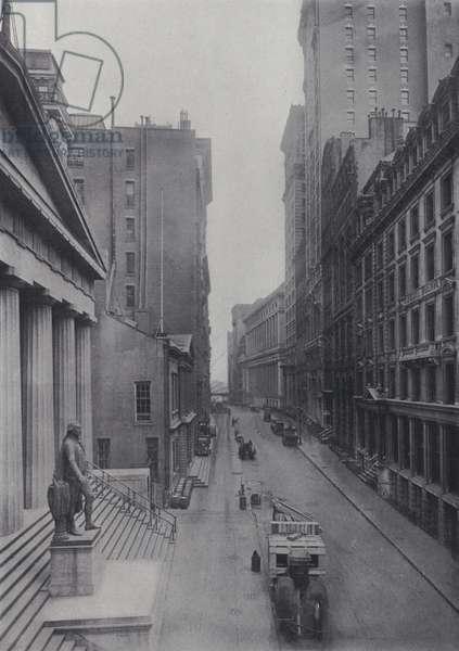 Wall Street looking East (b/w photo)