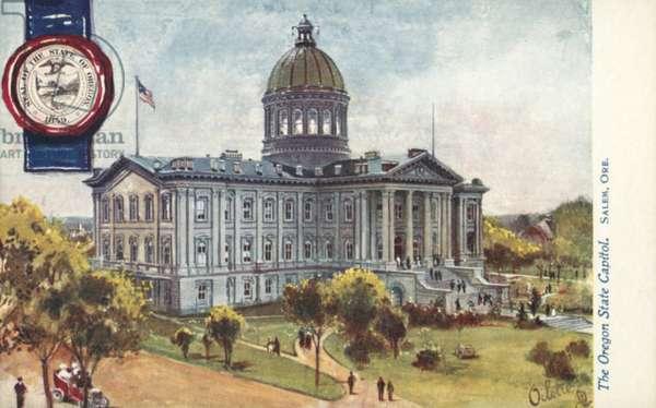 The Oregon State Capitol, Salem, Oregon (colour litho)