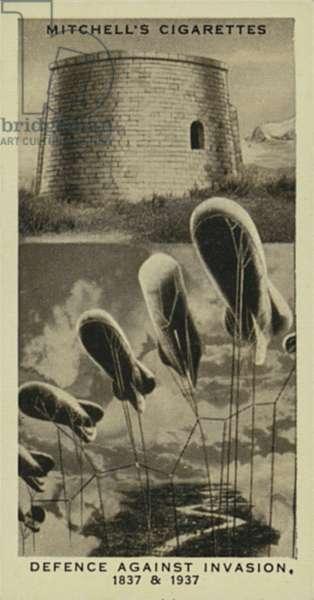 Wonderful Century, 1837-1937: Defence against Invasion, Martello Tower, Balloon Barrage (litho)