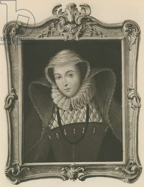 Mary Queen Of Scots, from the painting in the Bodleian Library (litho)