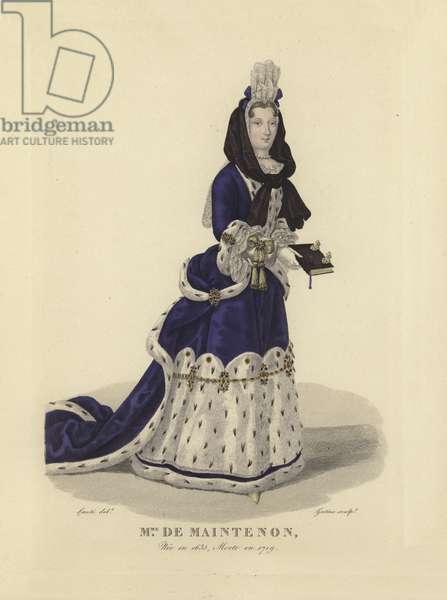 Madame de Maintenon, mistress of King Louis XIV of France (coloured engraving)