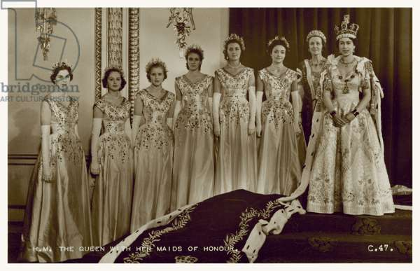 Queen Elizabeth II and her maids of honour on the day of her coronation, 2 June 1953 (b/w photo)