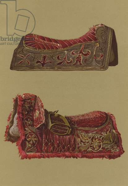 Embroidered Velvet Saddles of Prince Rupert and King Charles I (chromolitho)