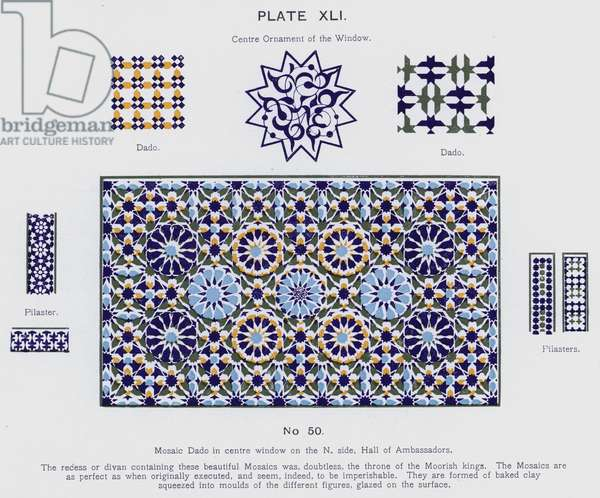 Mosaic Dado in centre window on the North side, Hall of Ambassadors (colour litho)