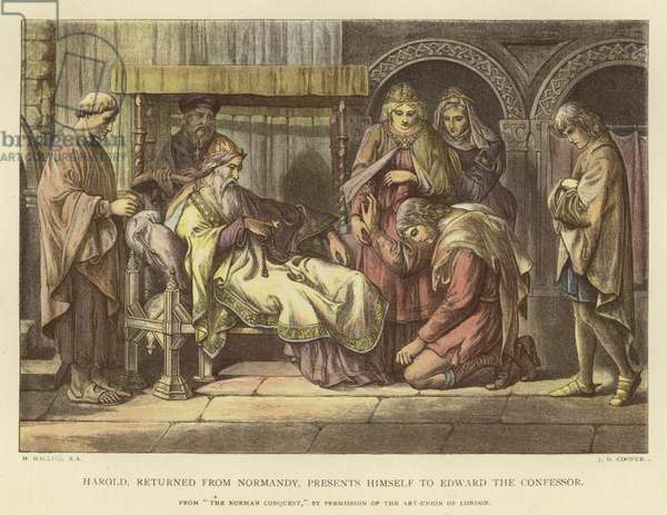 Harold, returned from Normandy, presents himself to Edward the Confessor (coloured engraving)