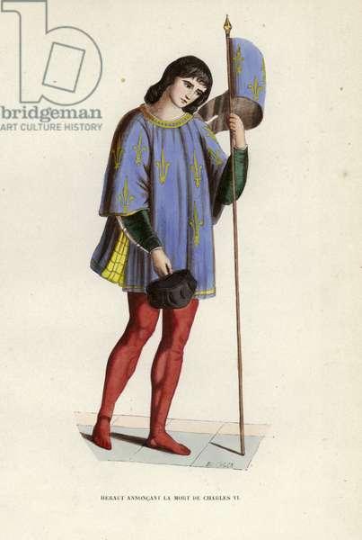 Heraut Annoncant La Mort De Charles VI (coloured engraving)