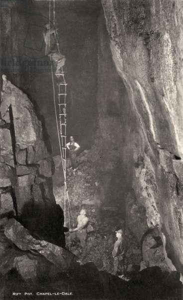 Rift Pot cave, Chapel-le-Dale, North Yorkshire (b/w photo)