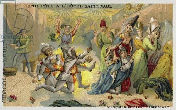 The Bal des Ardents, Hotel Saint Pol, Paris, 1393 (chromolitho)