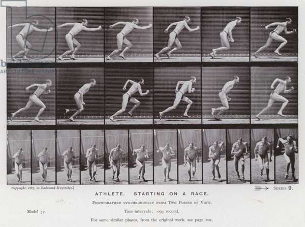 The Human Figure in Motion: Athlete, starting on a race (b/w photo)