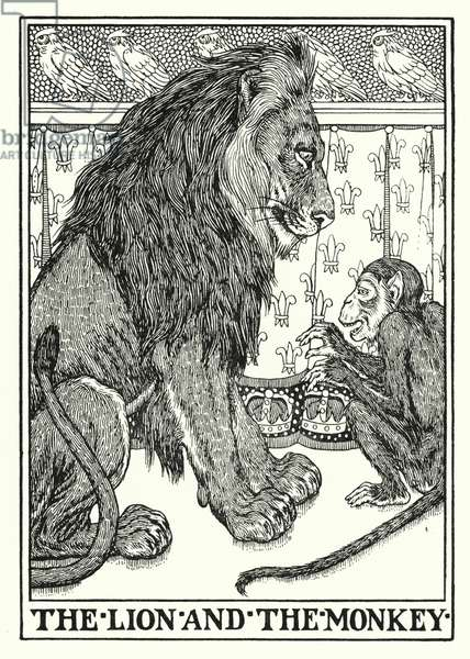 Fables of La Fontaine: The lion and the monkey (litho)