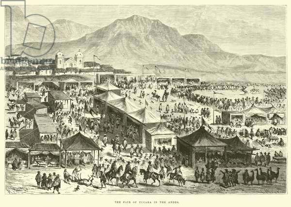 The fair of Pucara in the Andes (engraving)