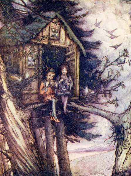 Tree-tops, where Wendy and Peter lived happily (colour litho)