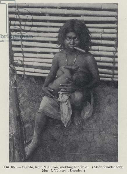 Negrito, from N Luzon, suckling her child (b/w photo)