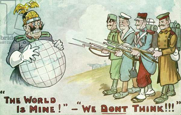 Allied soldiers thwarting Kaiser Wilhelm II of Germany's plans for world domination, First World War propaganda card (colour litho)