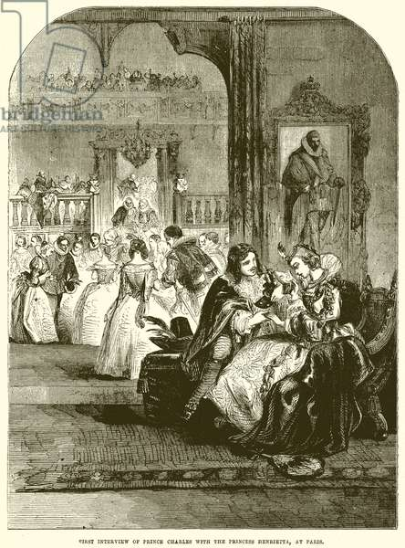 First interview of Prince Charles with the Princess Henrieita, at Paris (engraving)
