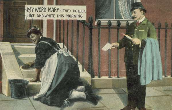 Double entendre: postman watching a housemaid cleaning the steps of a house (coloured photo)