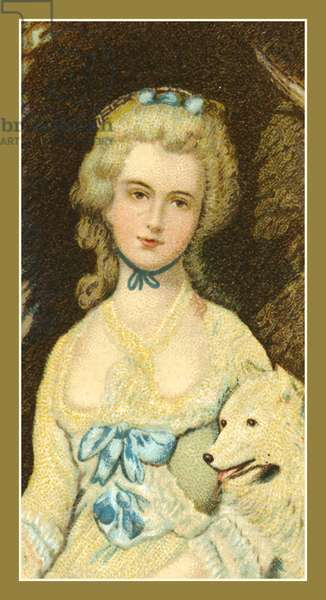 Mrs Robinson (Perdita), 1758-1800, by T Gainsborough (colour litho)