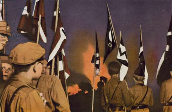Night parade by members of the Hitler Youth (colour photo)