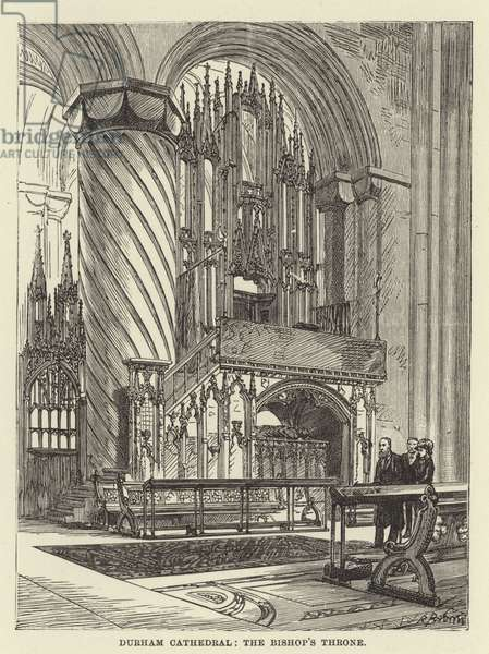 Durham Cathedral, the bishop's throne (engraving)