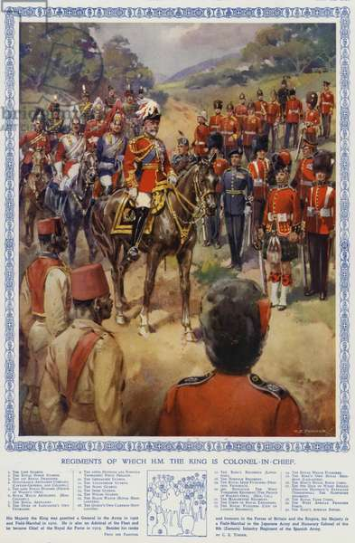 British Army regiments of which King George V is Colonel-in-Chief (colour litho)