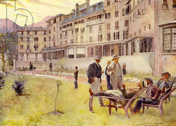 Cape Town, outside the Mount Nelson Hotel (colour litho)