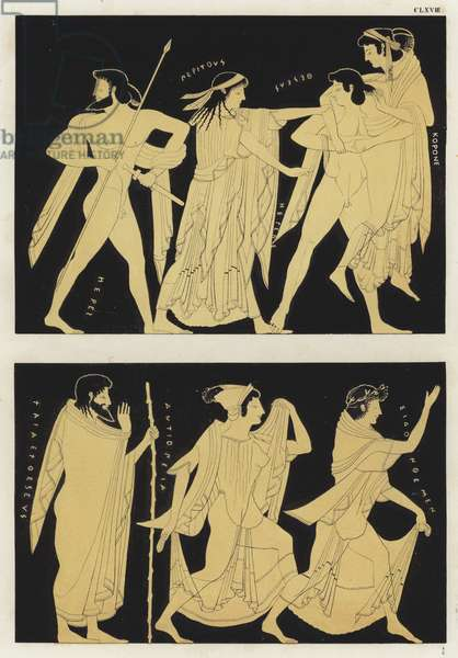 Abduction of Helen of Troy (colour litho)