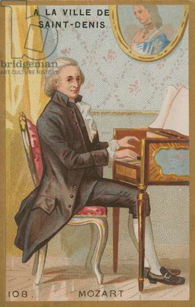 Wolfgang Amadeus Mozart, 18th Century Austrian Classical composer (chromolitho)