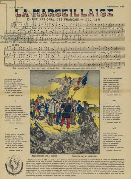 La Marseillaise. national anthem of France (colour litho)