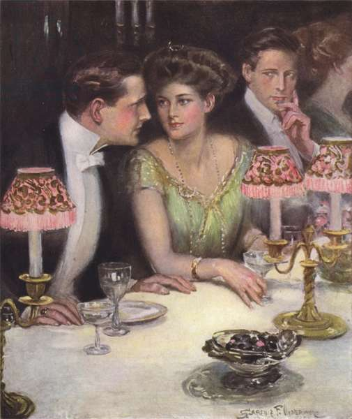 The only two at dinner (colour litho)