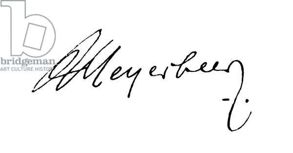 Giacomo Meyerbeer, signature (engraving)