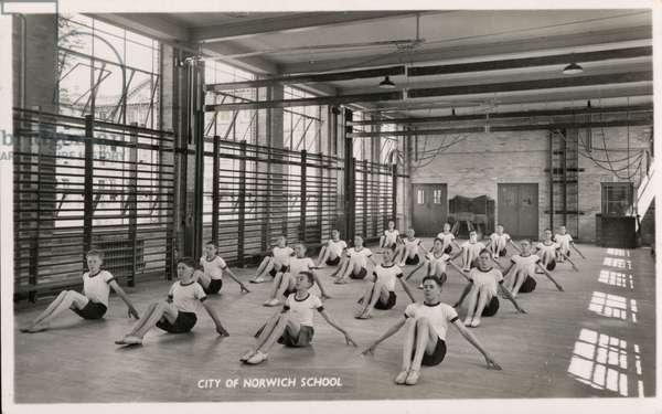 City of Norwich School, boys doing gymnastics exercises (b/w photo)
